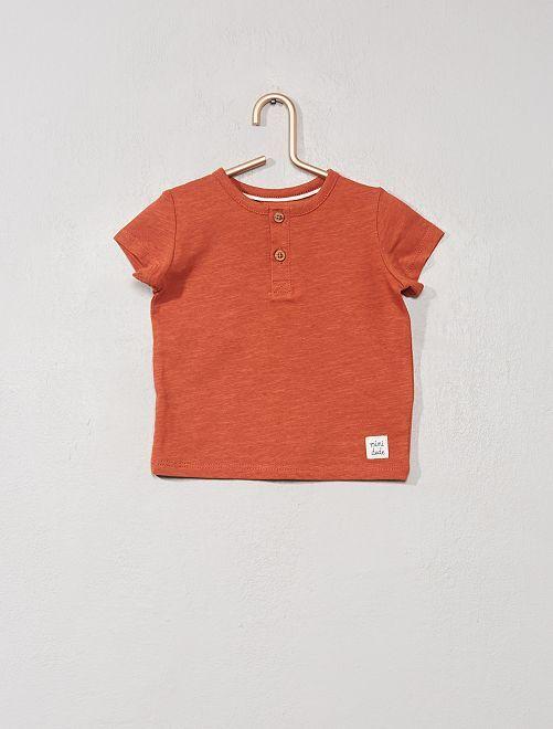 T-shirt col tunisien 'éco-conception'                                                                                                                                                                 orange foncé