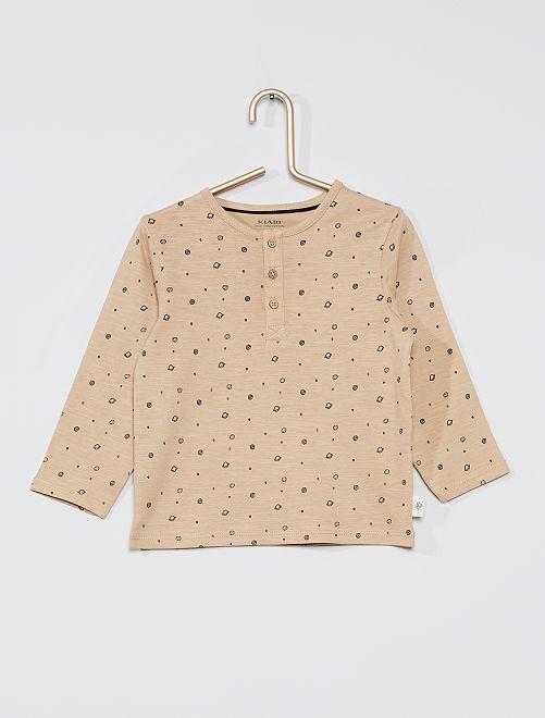 T-shirt col tunisien éco-conçu                                                                                                     beige