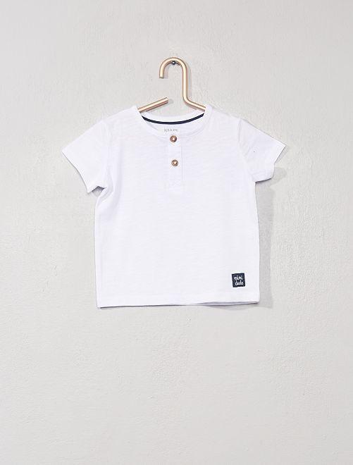 T-shirt col tunisien 'éco-conçu'                                                                                                                                                                 blanc