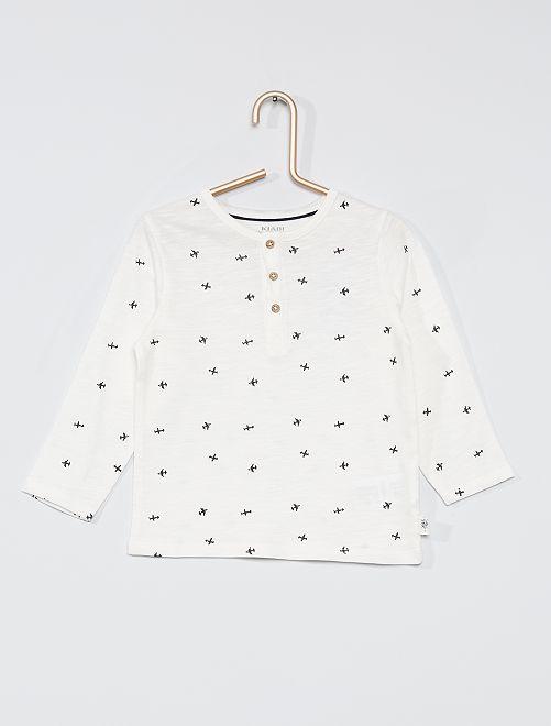 T-shirt col tunisien éco-conçu                                                                                                     blanc
