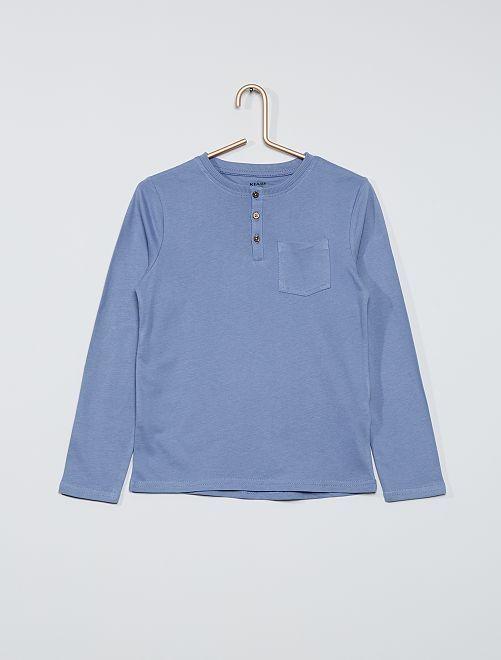 T-shirt col tunisien 'éco-conçu'                                                     bleu
