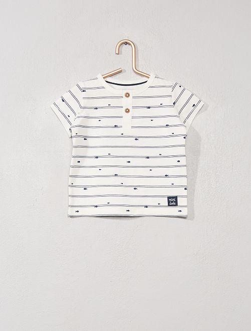 T-shirt col tunisien 'éco-conçu'                                                                                                                                                                 écru rayé poissons