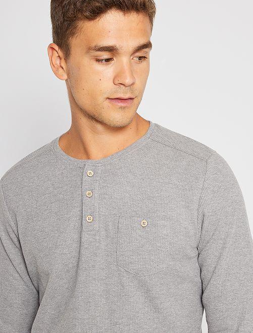 T-shirt col tunisien éco-conçu                                                                 gris
