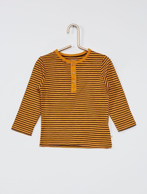T-shirt col tunisien éco-conçu                                                                             jaune