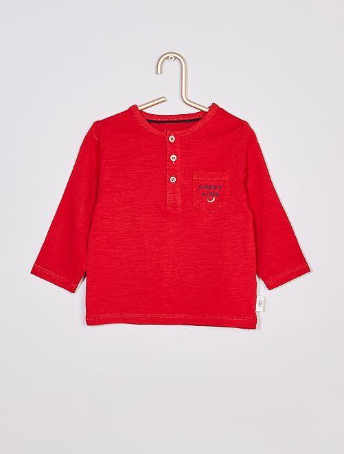 T-shirt col tunisien éco-conçu                                                                                         rouge