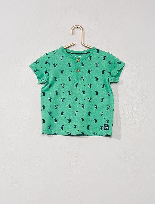 T-shirt col tunisien 'éco-conçu'                                                                                                                                                     vert croco