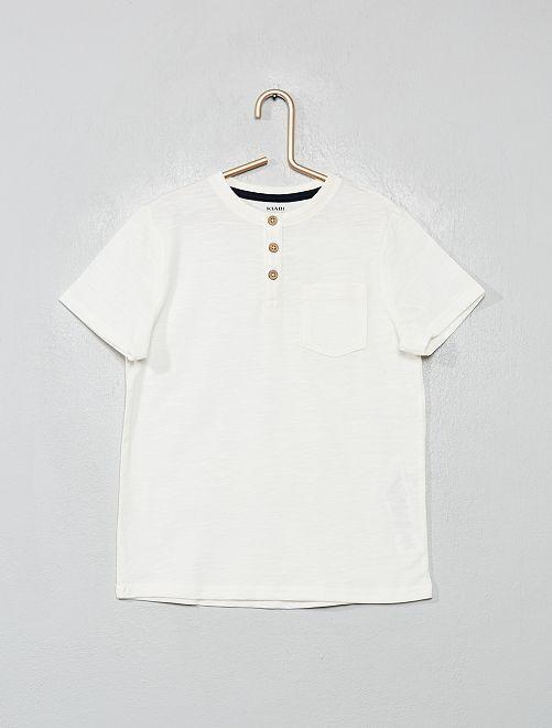 T-shirt col tunisien en coton bio                                                                 blanc