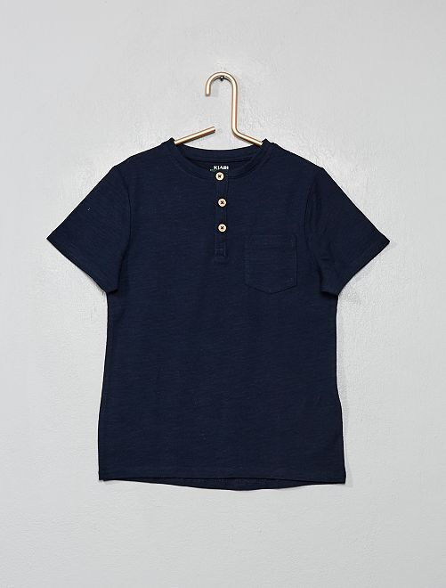 T-shirt col tunisien en coton bio                                                                 bleu marine