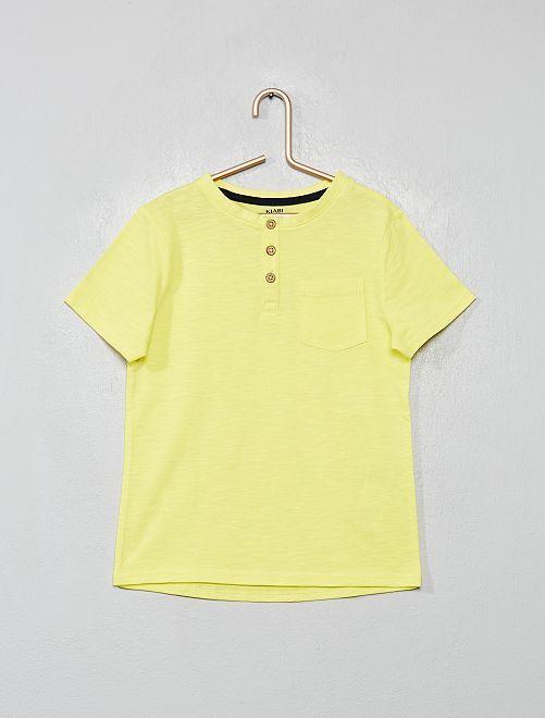 T-shirt col tunisien en coton bio                                                                 jaune