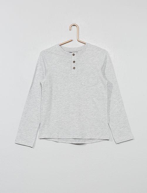 T-shirt col tunisien                                                                 gris chiné