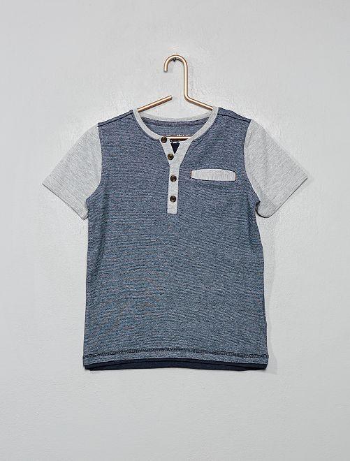 T-shirt col tunisien                                         gris