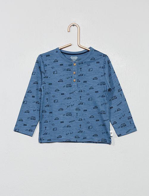 T-shirt col tunisien imprimé                                                                                         bleu Bébé garçon