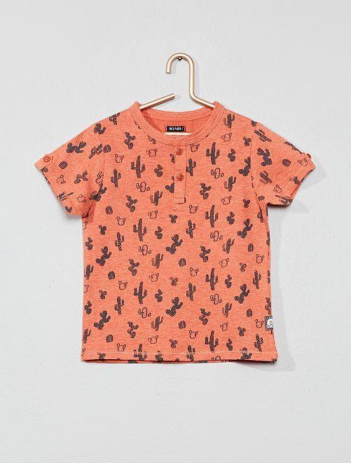 T-shirt col tunisien imprimé 'cactus'                     brique Bébé garçon