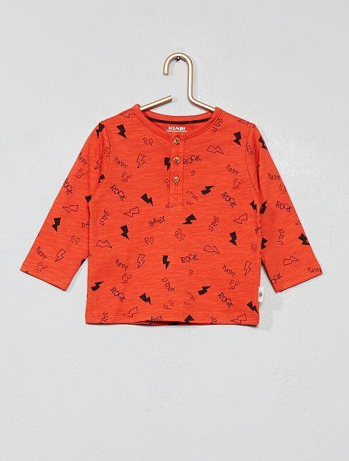 T-shirt col tunisien imprimé                                                                                         rouge orangé Bébé garçon