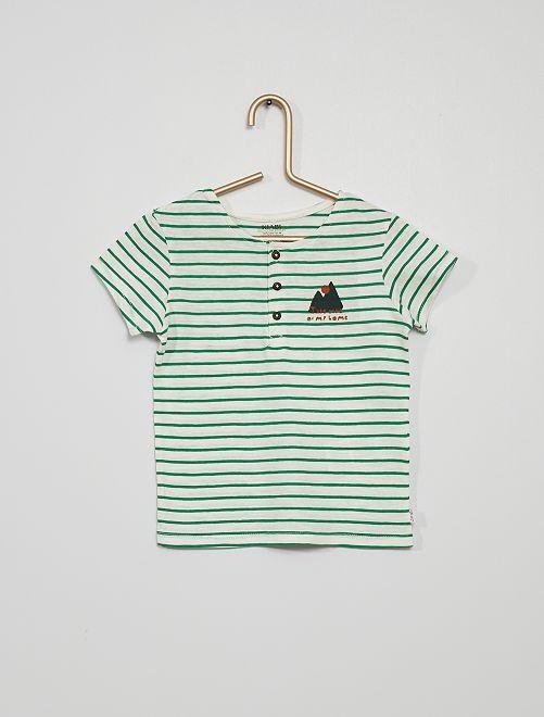 T-shirt col tunisien rayé                             écru/vert