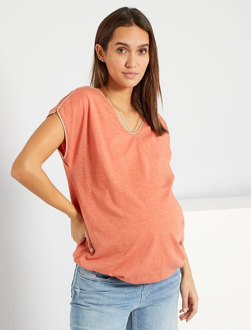 T-shirt col tunisien                                         saumon