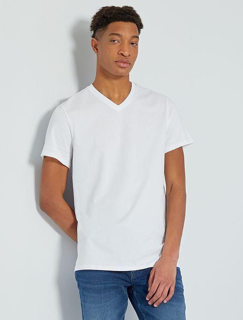 T-shirt col V +1m90                                                                             blanc