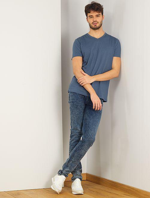 T-shirt col V +1m90                                                                 bleu gris