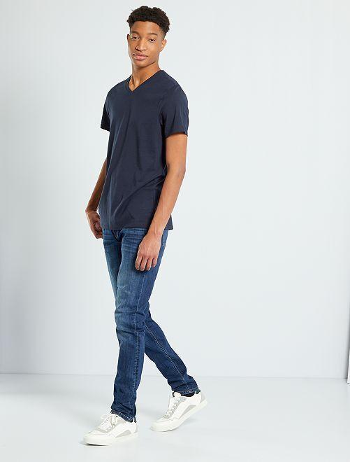 T-shirt col V +1m90                                                                                         bleu marine