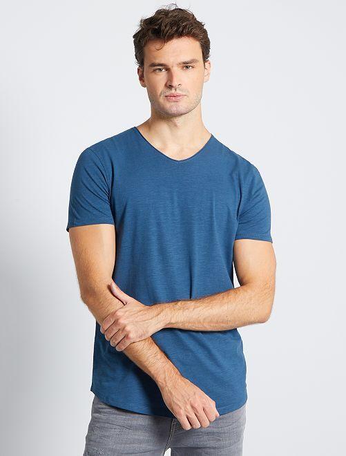 T-shirt col V +1m90                                                                             bleu pétrole