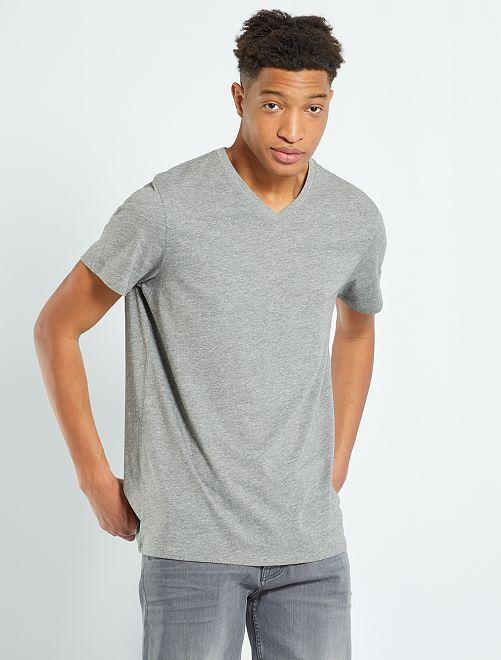 T-shirt col V +1m90                                                                             gris chiné