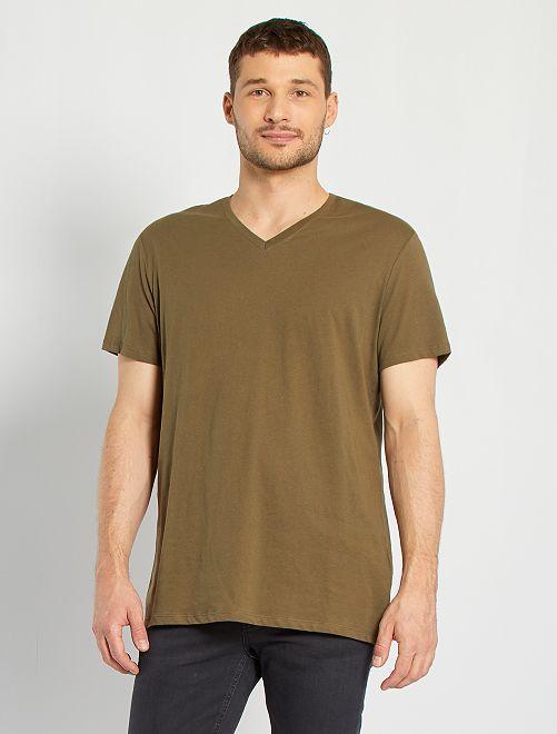 T-shirt col V +1m90                                                                                         KAKI