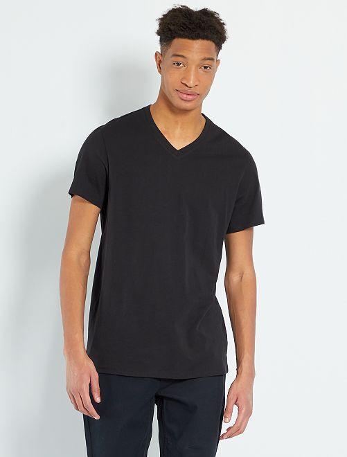 T-shirt col V +1m90                                                                                 noir