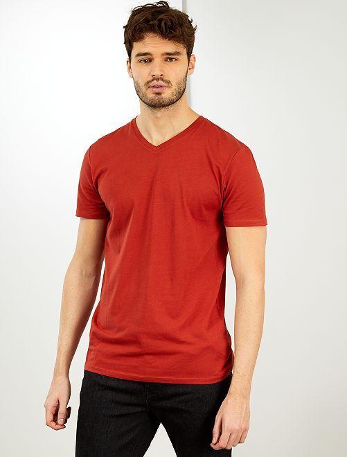 T-shirt col V +1m90                                                                             orange foncé