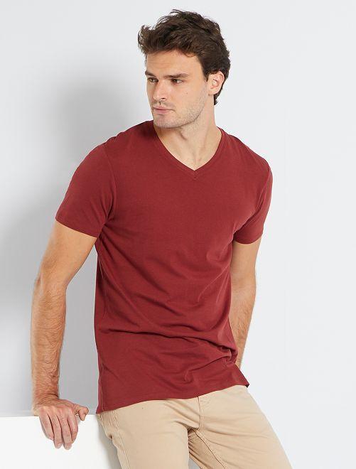 T-shirt col V +1m90                                                     rouge foncé