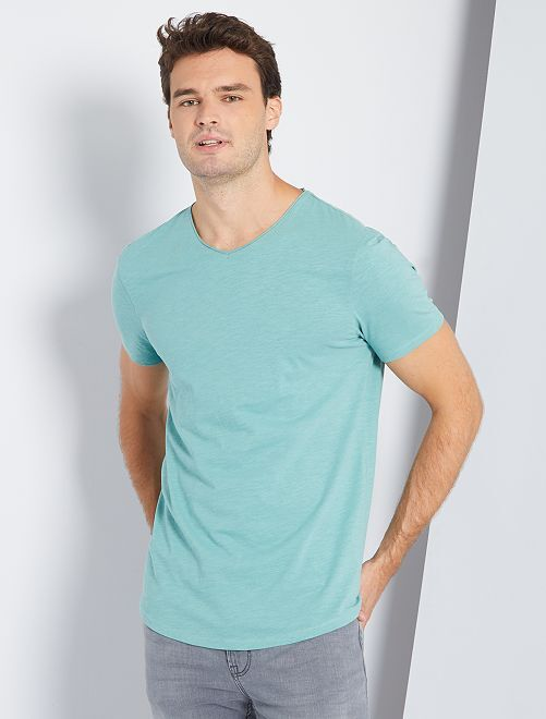 T-shirt col V +1m90                                                     vert grisé