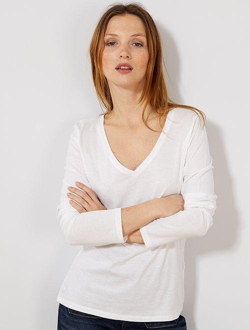 T-shirt col V                                         blanc Femme