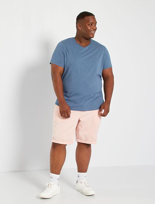 T-shirt col V                                                                 bleu