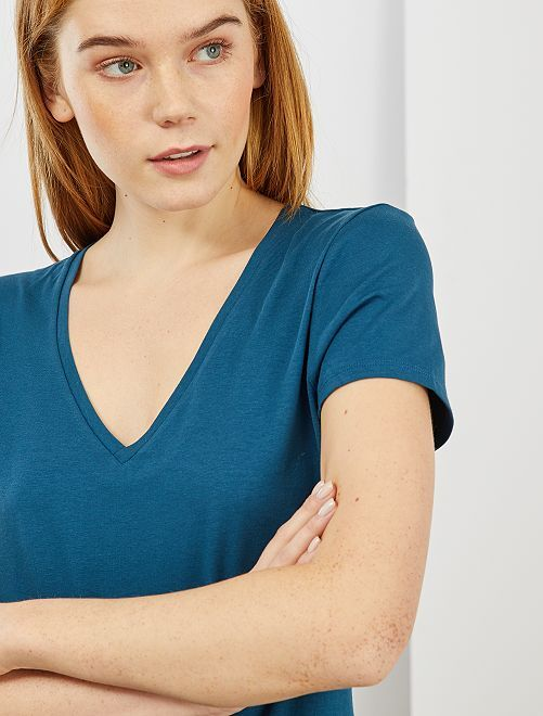 T-shirt col V                                                                                         bleu nuit