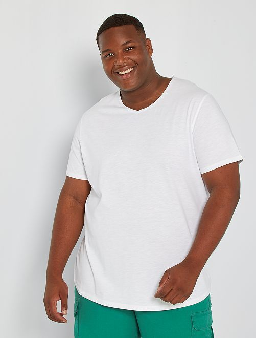 T-shirt col V éco-conçu                                                                                                                                                                 blanc