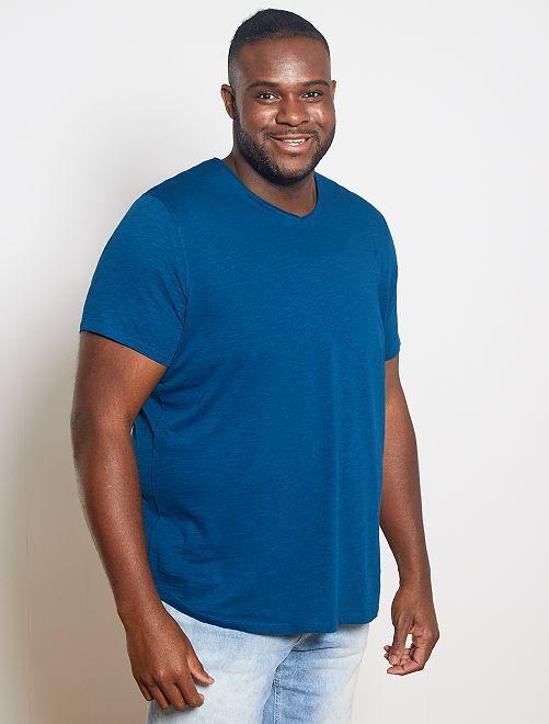 T-shirt col V éco-conçu                                                                                                                                                     bleu canard