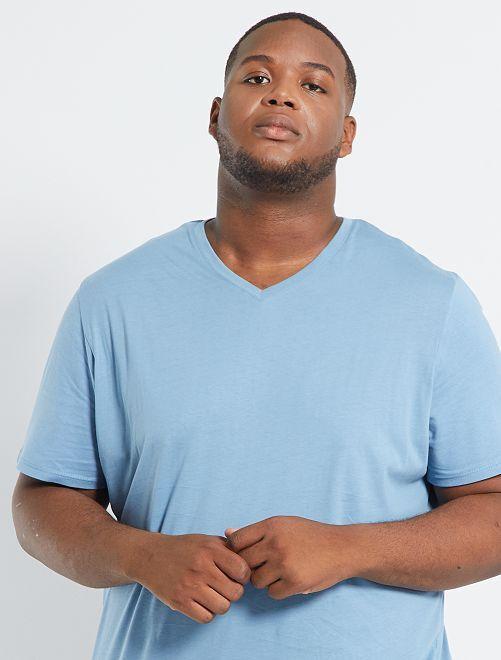 T-shirt col V éco-conçu                                                                                                                             bleu grisé