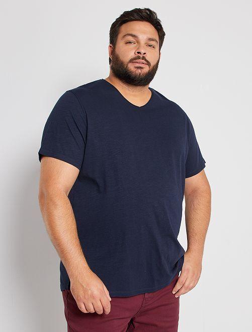 T-shirt col V éco-conçu                                                                                                                                         bleu marine