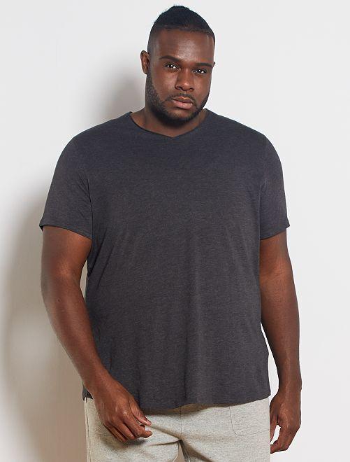 T-shirt col V éco-conçu                                                                 gris chiné