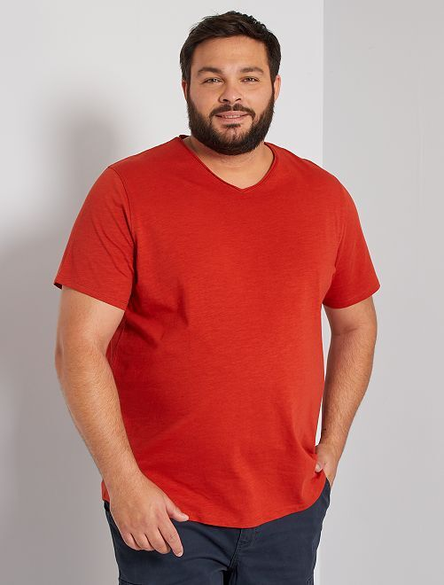 T-shirt col V éco-conçu                                                                                                                                                                 orange ketchup