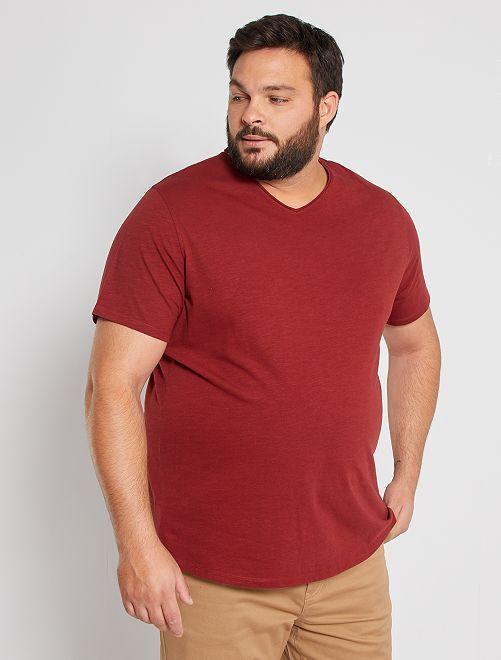T-shirt col V éco-conçu                                                                                                                                                                 rouge foncé