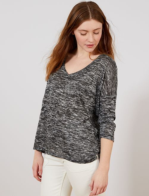 T-shirt col V en maille fine                                         gris chiné Femme