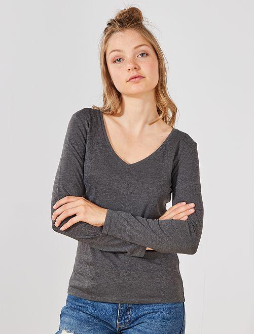 T-shirt col V                                                                                         gris Femme