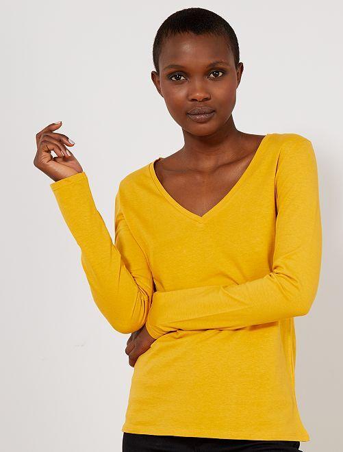 T-shirt col V                                                     jaune Femme