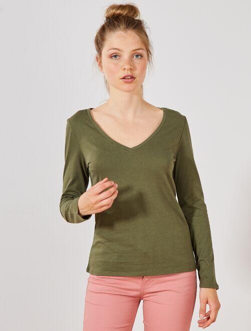 T-shirt col V                                                                                         kaki Femme