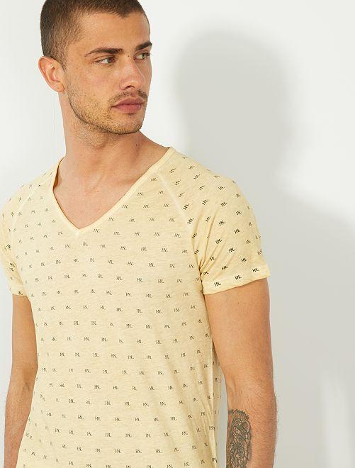 T-shirt col V micro motif                                                                 jaune pâle
