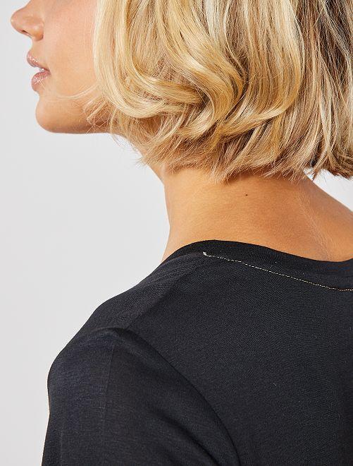 T-shirt col V                                                                                                                                                     noir Femme