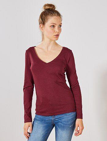 3d07f72e16a7a Soldes t-shirt manches longues pour femme pas cher Vêtements femme ...