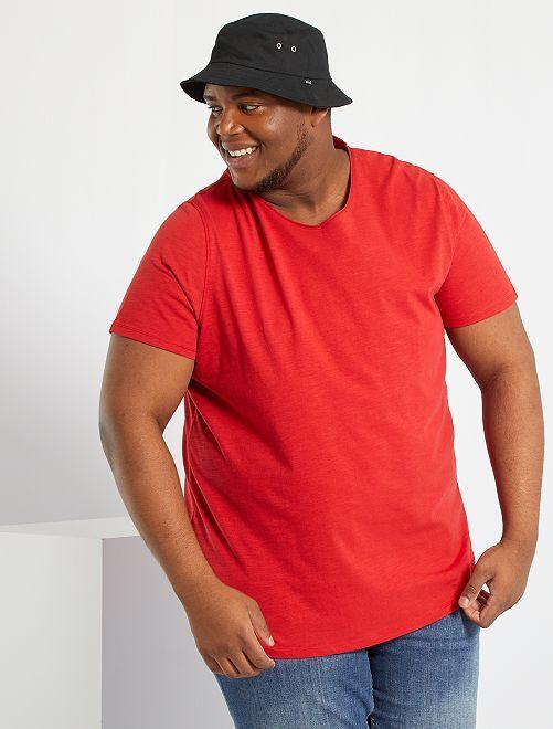 T-shirt col V                                                                                                     rouge
