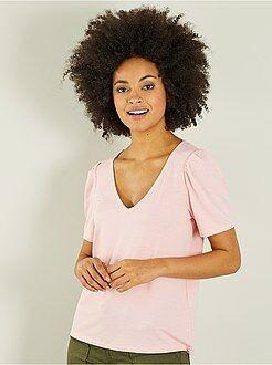 T-shirt, débardeur rose - T-shirt col V uni - Kiabi