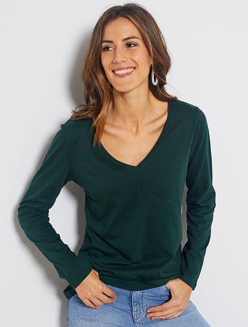 T-shirt col V                                                                                                                                         vert foncé